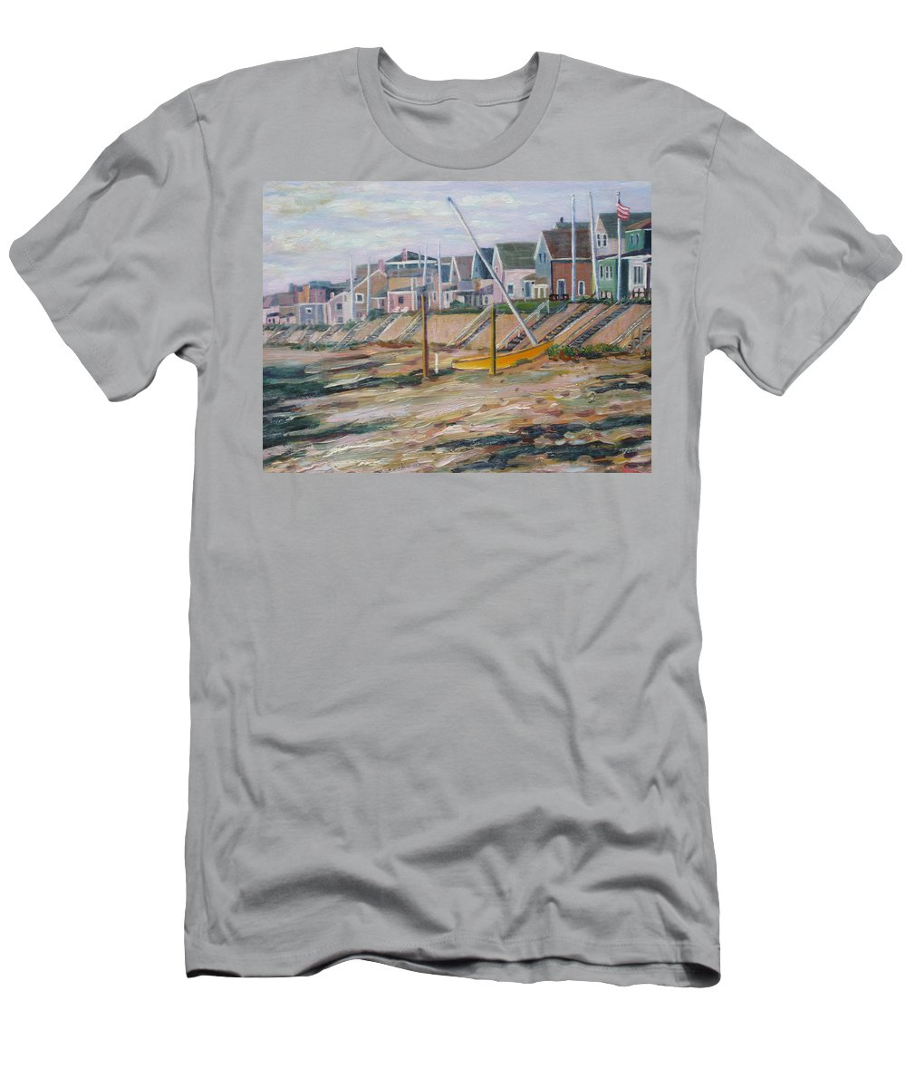 Beach Men's T-Shirt (Athletic Fit) featuring the painting Cottages Along Moody Beach by Richard Nowak