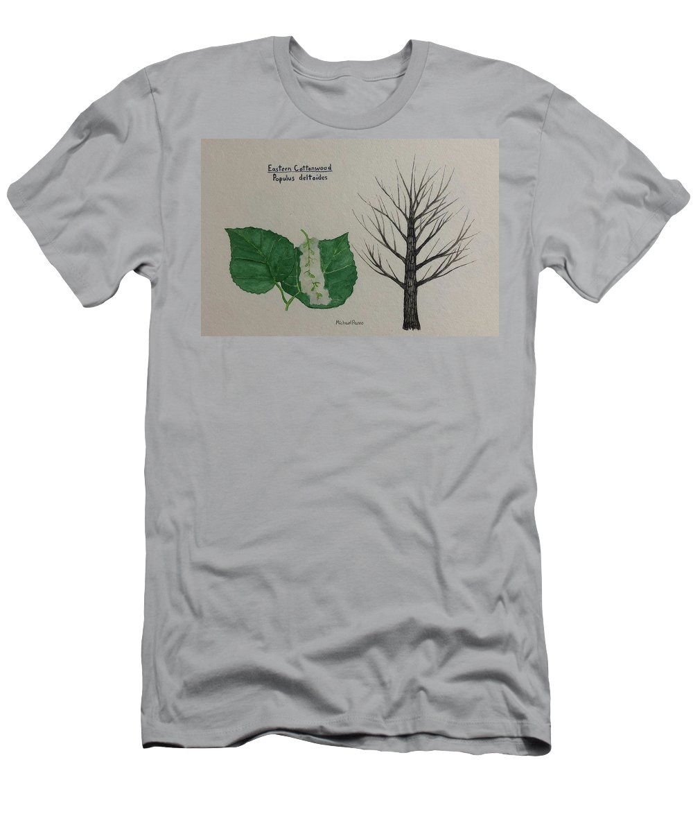 Nature Men's T-Shirt (Athletic Fit) featuring the painting Cottonwood Tree Id by Michael Panno