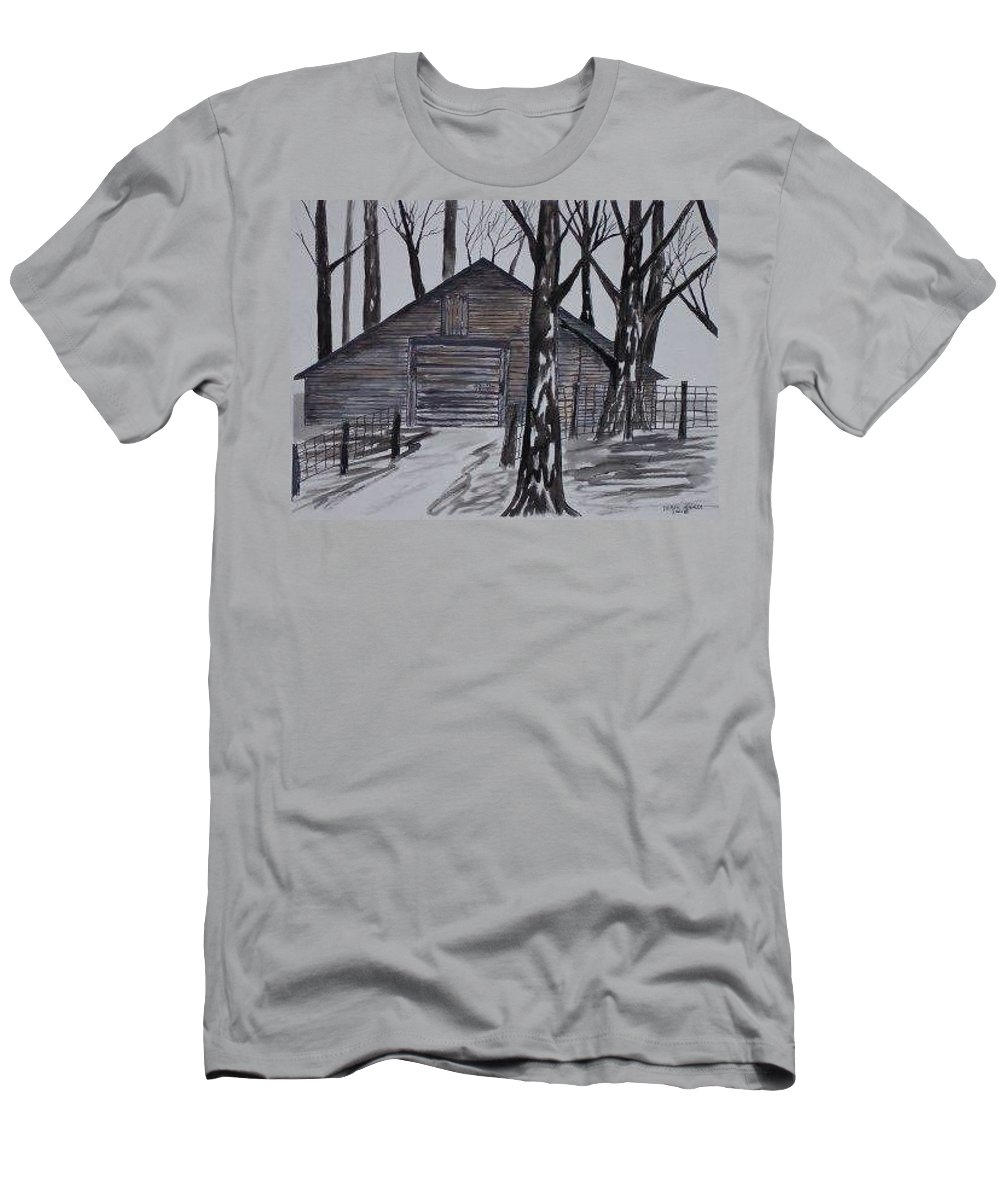Watercolor Landscape Painting Barn Pen And Ink Drawing Print Original Men's T-Shirt (Athletic Fit) featuring the painting Country Barn Pen And Ink Drawing Print by Derek Mccrea