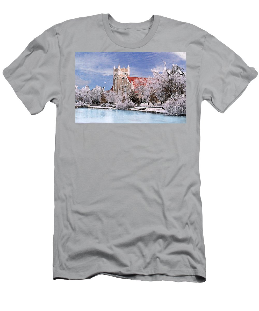 Winter Men's T-Shirt (Athletic Fit) featuring the photograph Country Club Christian Church by Steve Karol