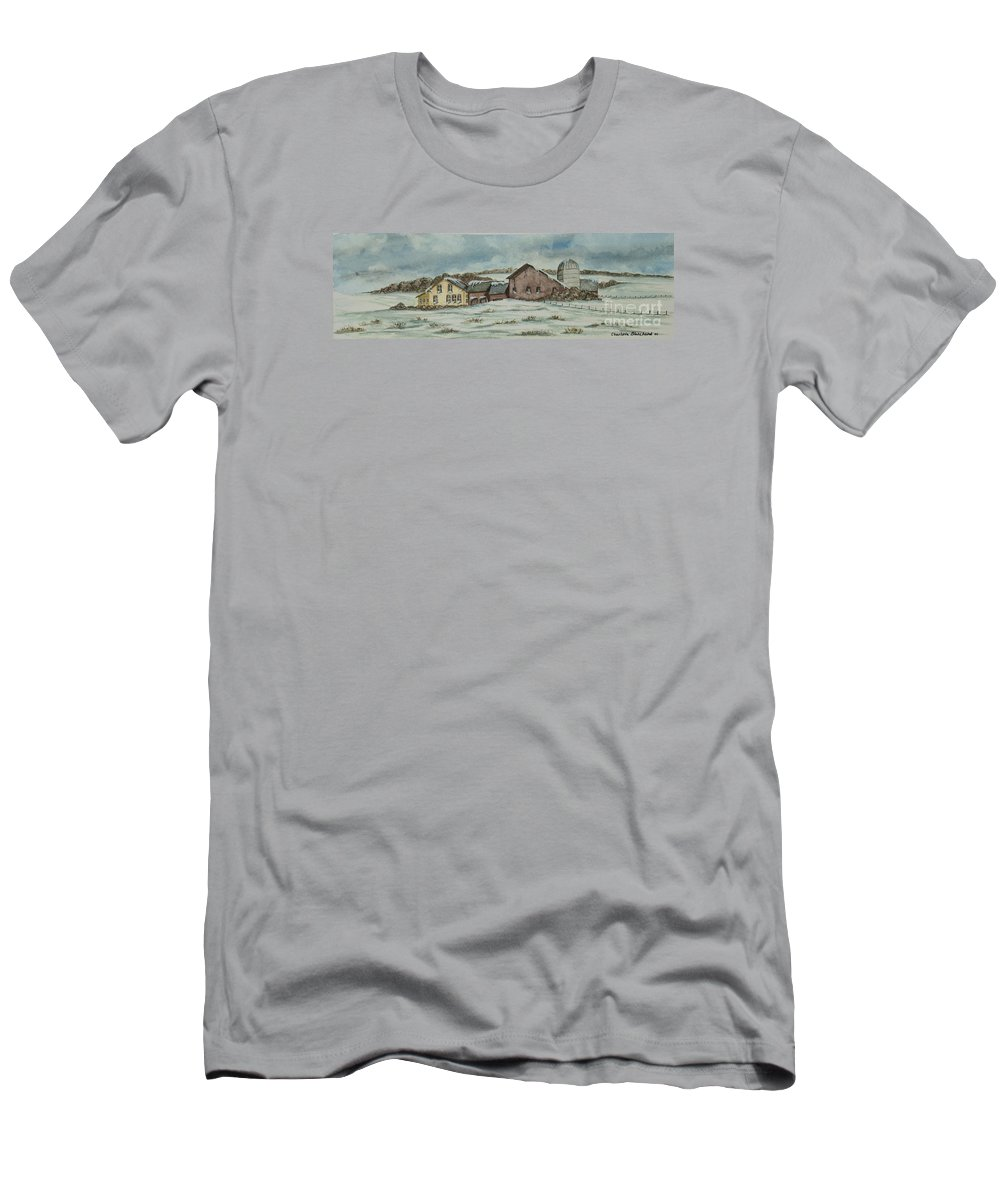 Winter Scene Paintings Men's T-Shirt (Athletic Fit) featuring the painting Country Farm In Winter by Charlotte Blanchard