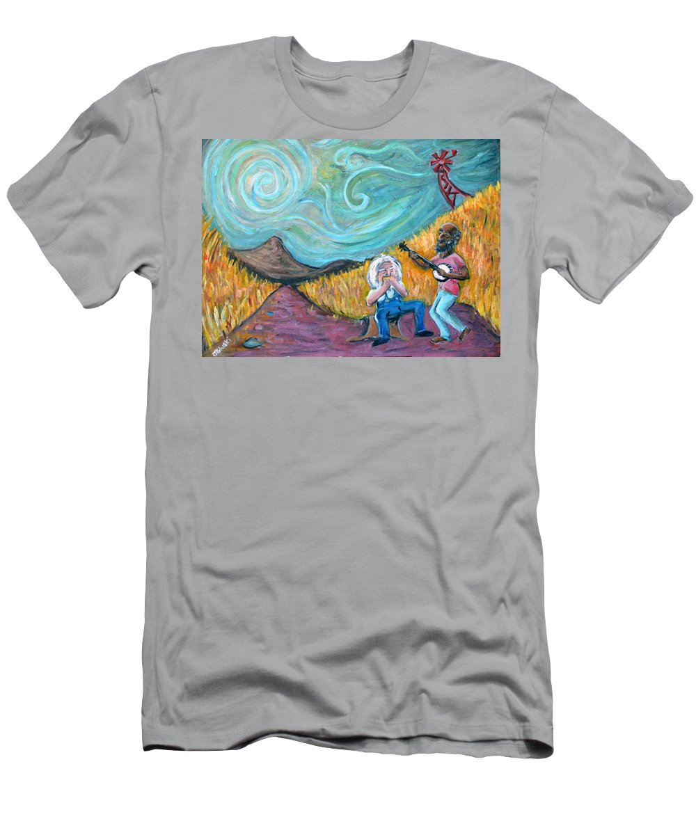 Country Music South Old Man Banjo Van Gogh Corn Field Men's T-Shirt (Athletic Fit) featuring the painting Country Music by Jason Gluskin