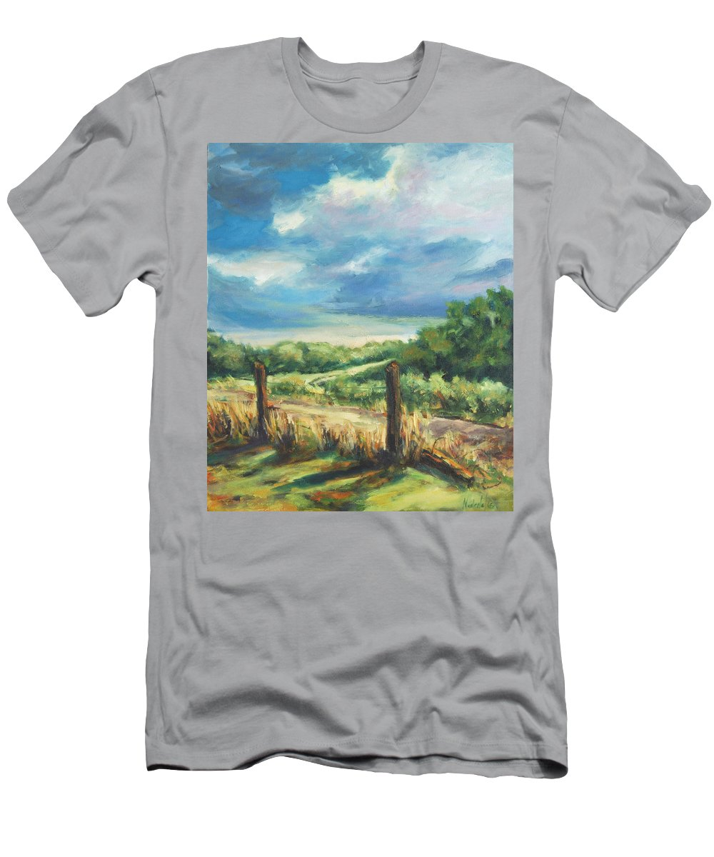 Clouds Men's T-Shirt (Athletic Fit) featuring the painting Country Road by Rick Nederlof