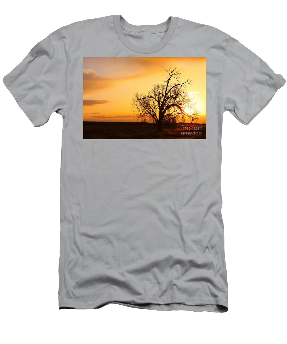 Sunrise Men's T-Shirt (Athletic Fit) featuring the photograph Country Sunrise by James BO Insogna