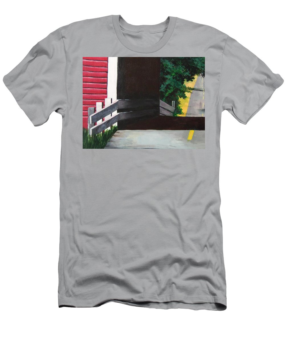 Landscape Men's T-Shirt (Athletic Fit) featuring the painting Covered Bridge No.1 by Charles Simpson