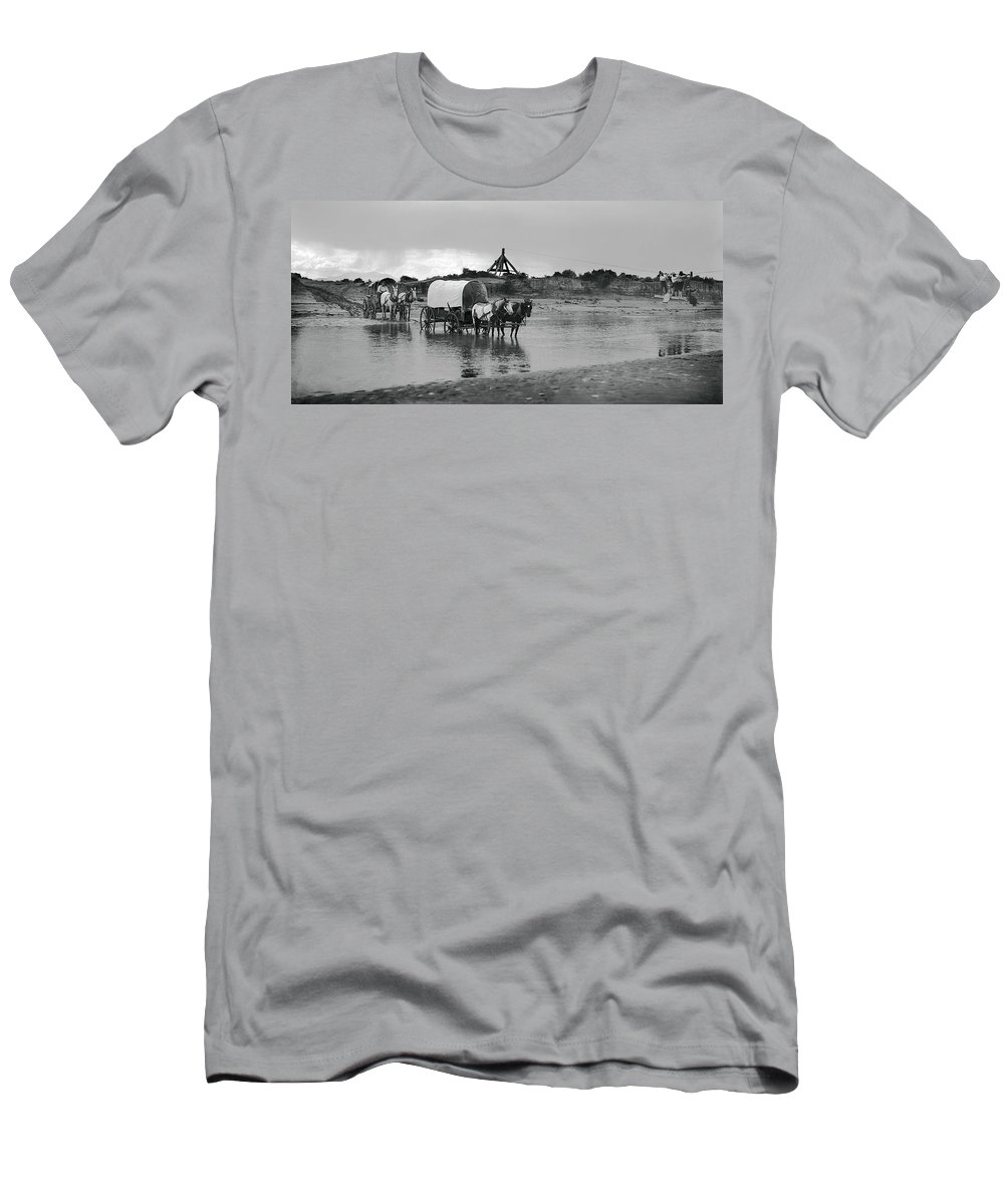 fording River Men's T-Shirt (Athletic Fit) featuring the photograph Covered Wagon River Ford And Cable Ferry 1903 by Daniel Hagerman