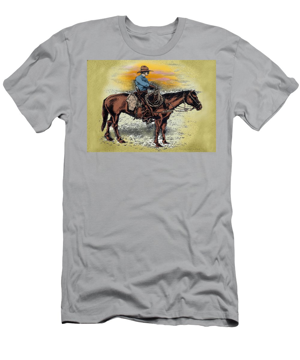 Cowboy Men's T-Shirt (Athletic Fit) featuring the painting Cowboy N Sunset by Kevin Middleton