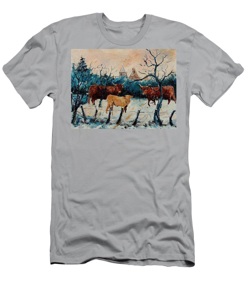 Animal Men's T-Shirt (Athletic Fit) featuring the painting Cows by Pol Ledent