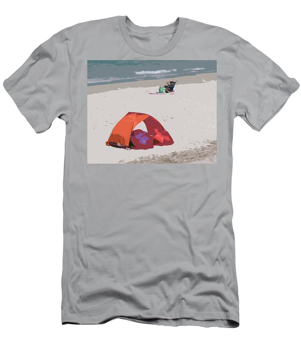 Florida Men's T-Shirt (Athletic Fit) featuring the painting Cozy Hide-a-way For Two On A Florida Beach by Allan Hughes