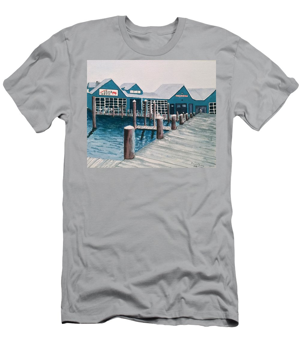 Restaurant Men's T-Shirt (Athletic Fit) featuring the painting Crab Deck by Bonnie Young