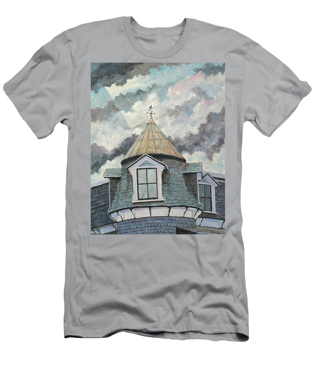 Art Men's T-Shirt (Athletic Fit) featuring the painting Crack The Sky by Richard T Pranke