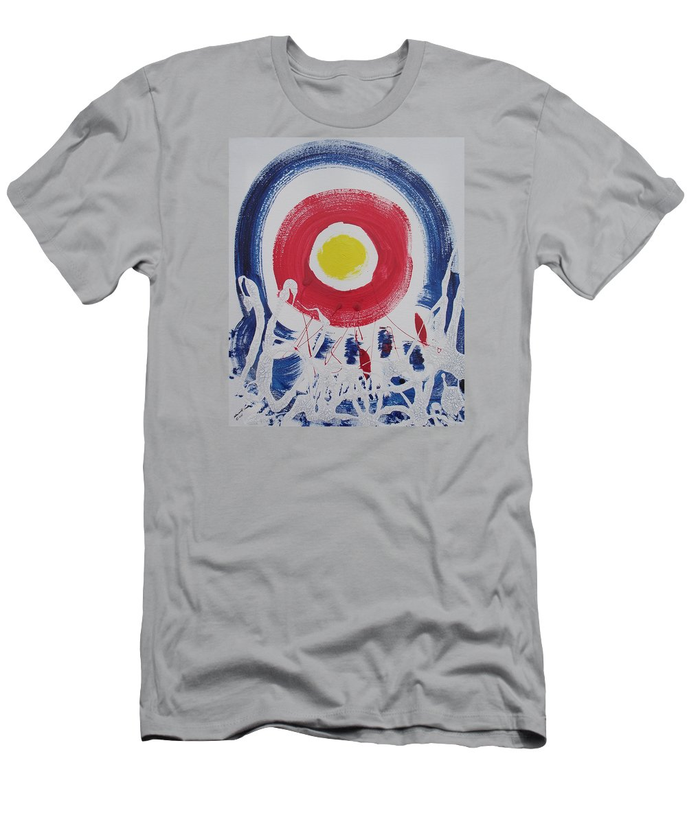 Global Warming Men's T-Shirt (Athletic Fit) featuring the painting Cracks In The Universe by Arlene Wright-Correll