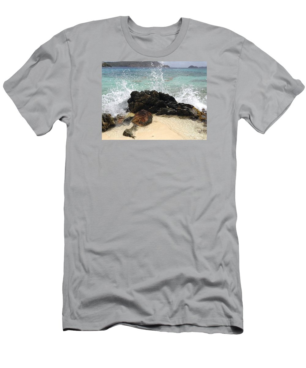 St. Thomas Men's T-Shirt (Athletic Fit) featuring the photograph Crashing Waves At Sugar Beach by Gina Sullivan