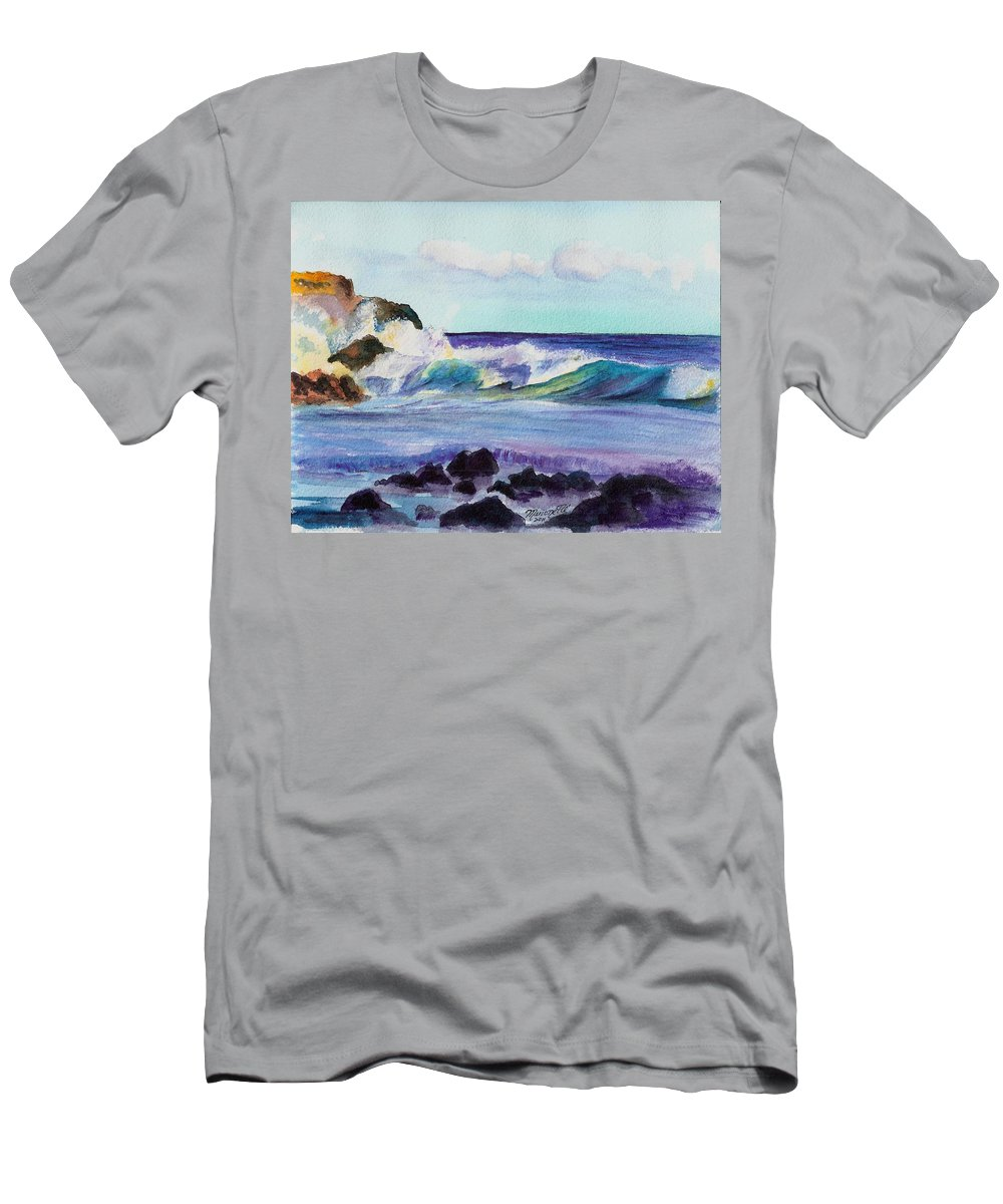 Kauai Art Men's T-Shirt (Athletic Fit) featuring the painting Crashing Waves by Marionette Taboniar