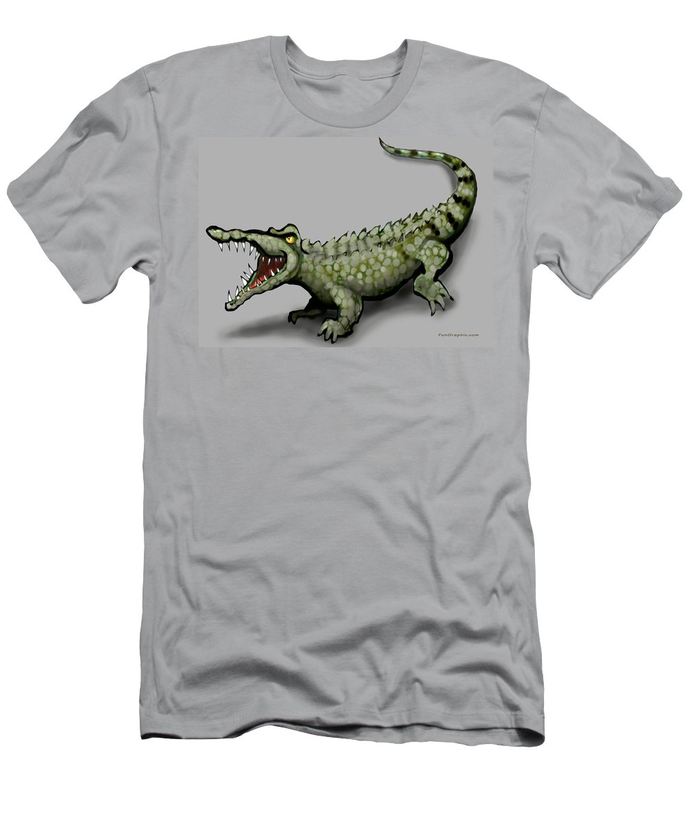 Crocodile Men's T-Shirt (Athletic Fit) featuring the greeting card Crocodile by Kevin Middleton
