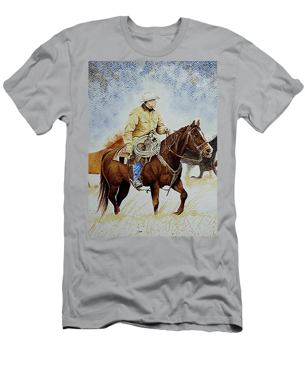 Art Men's T-Shirt (Athletic Fit) featuring the painting Cropped Ranch Rider by Jimmy Smith