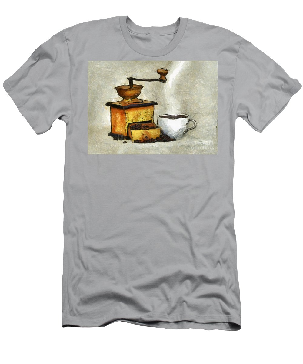 Altered Men's T-Shirt (Athletic Fit) featuring the mixed media Cup Of The Hot Black Coffee by Michal Boubin