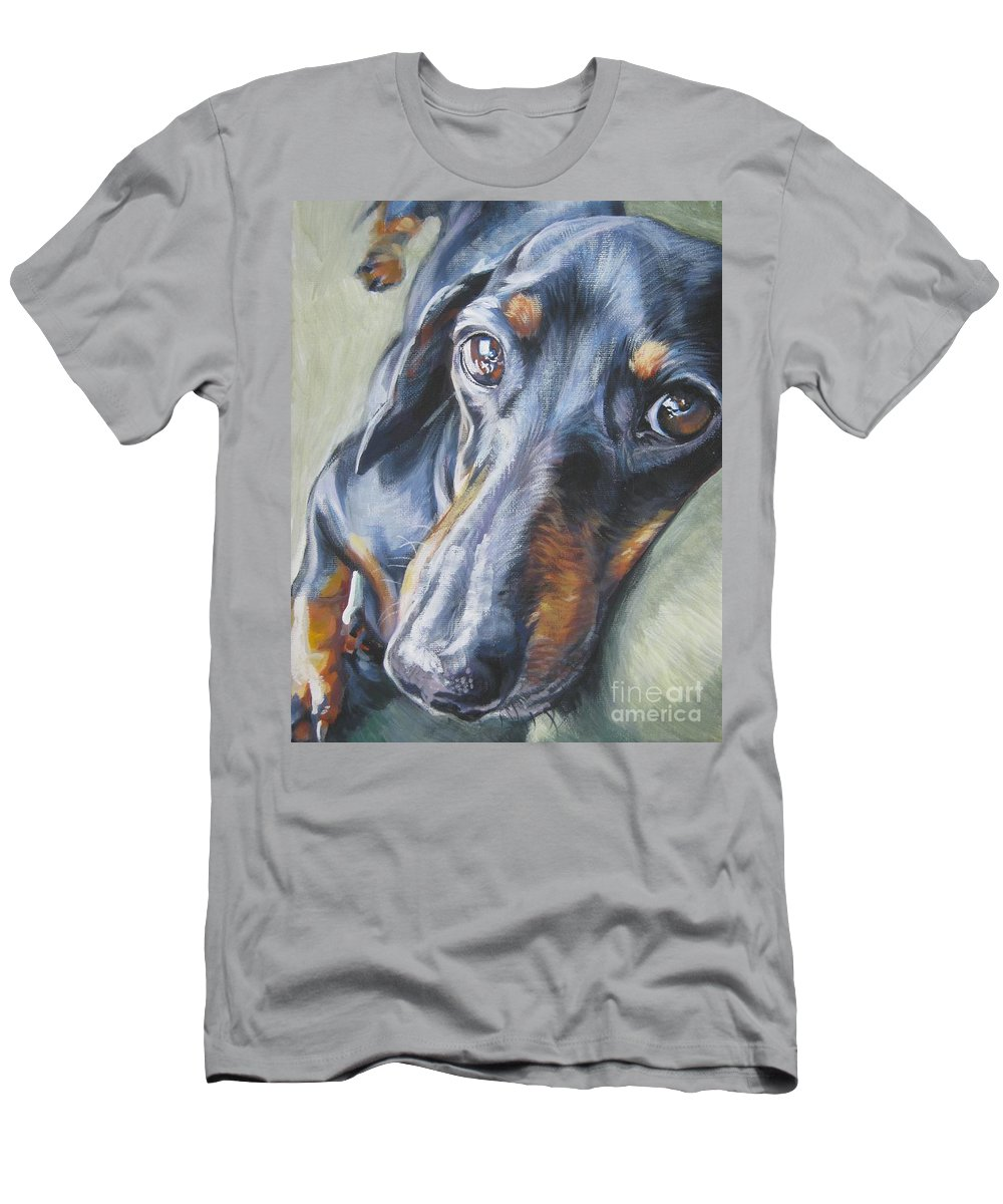 Dog Men's T-Shirt (Athletic Fit) featuring the painting Dachshund Black And Tan by Lee Ann Shepard
