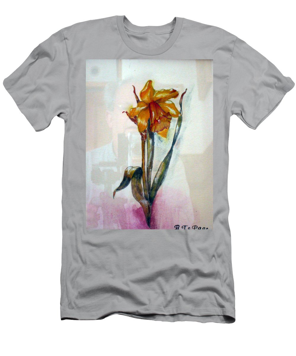 Daffodil Men's T-Shirt (Athletic Fit) featuring the painting Daffodil by Richard Le Page