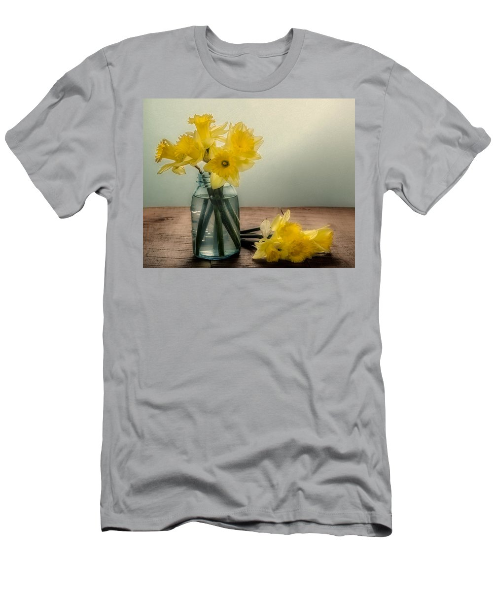 Art Men's T-Shirt (Athletic Fit) featuring the photograph Daffodils In A Blue Jar by John Trax