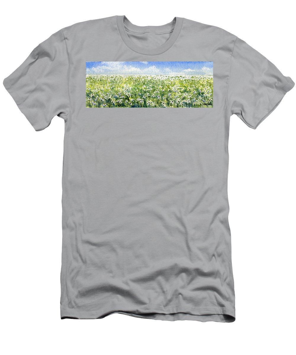 Nature Men's T-Shirt (Athletic Fit) featuring the painting Daisy Field by Mary Tuomi