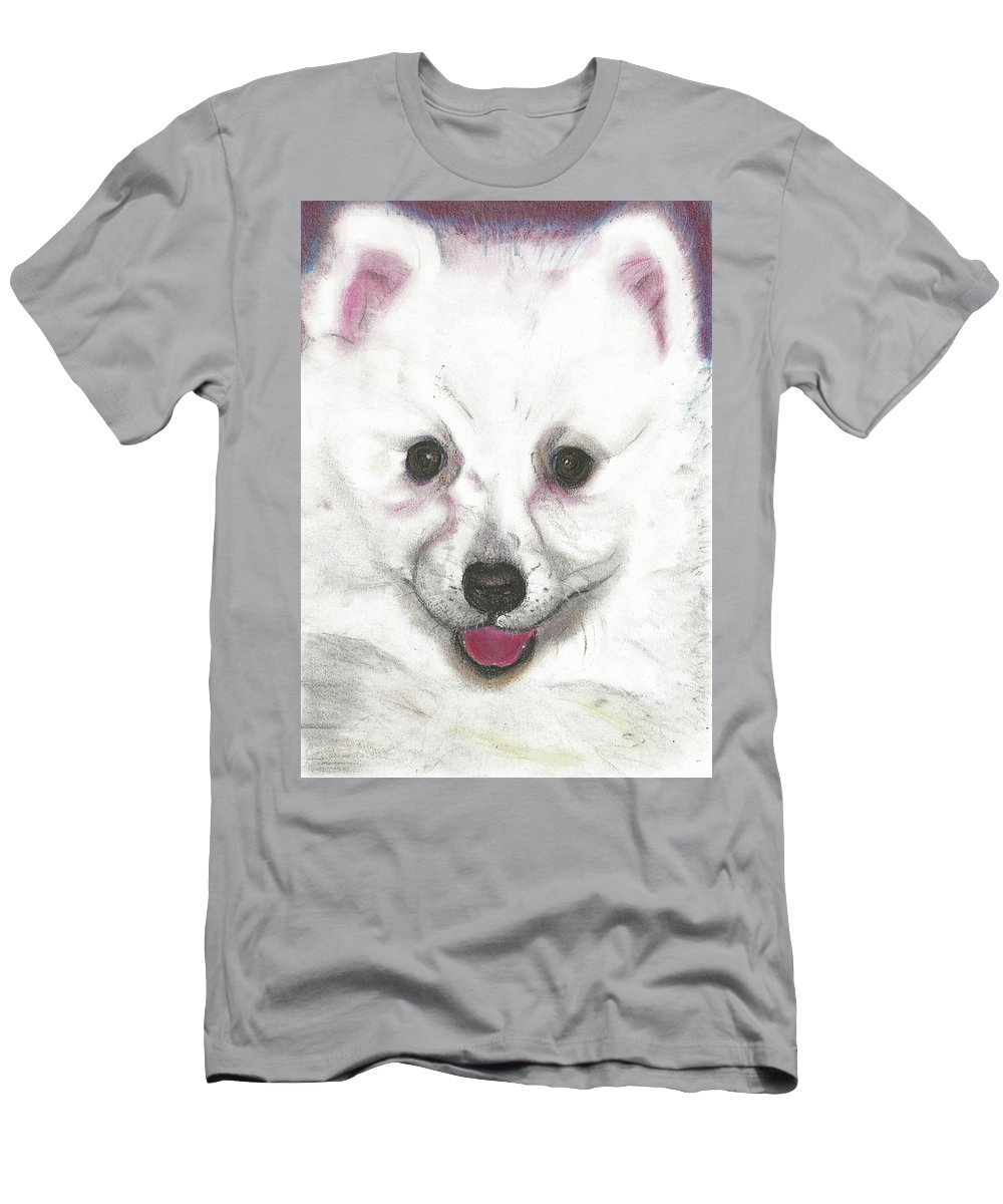 Dog Men's T-Shirt (Athletic Fit) featuring the pastel Daisy by Louise Grant