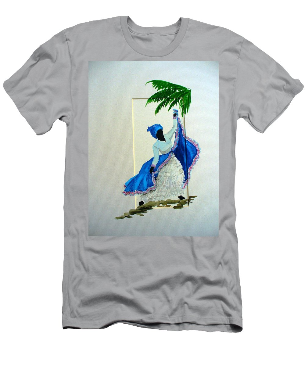 Folk Dance Caribbean Tropical Men's T-Shirt (Athletic Fit) featuring the painting Dance De Pique by Karin Dawn Kelshall- Best