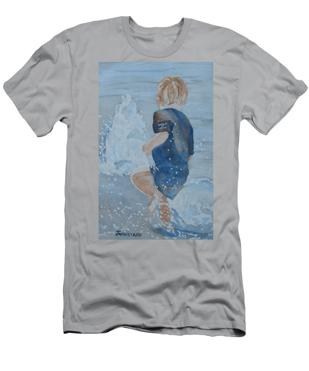 Boy Men's T-Shirt (Athletic Fit) featuring the painting Dances With Fountains by Jenny Armitage