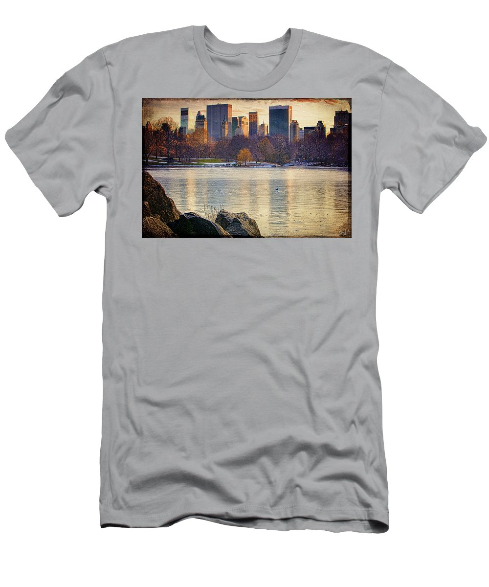 Central Park Men's T-Shirt (Athletic Fit) featuring the photograph Danger - Thin Ice by Chris Lord