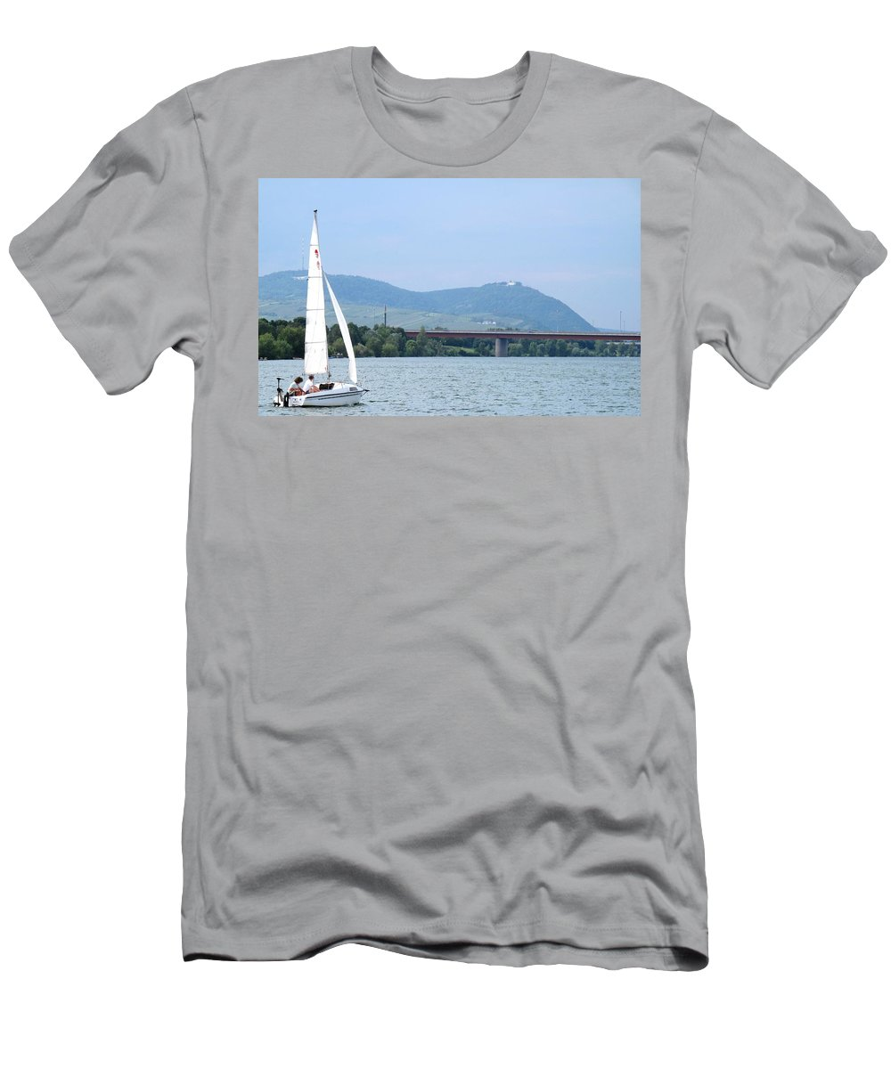Sail Men's T-Shirt (Athletic Fit) featuring the photograph Danube River Sailor by Ian MacDonald