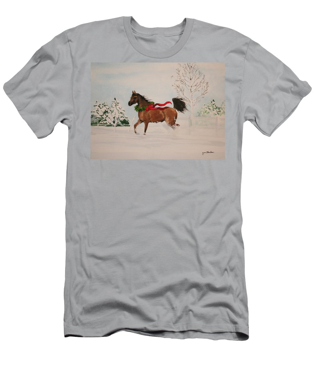 Horse T-Shirt featuring the painting Dashing Thru The Snow by Jean Blackmer