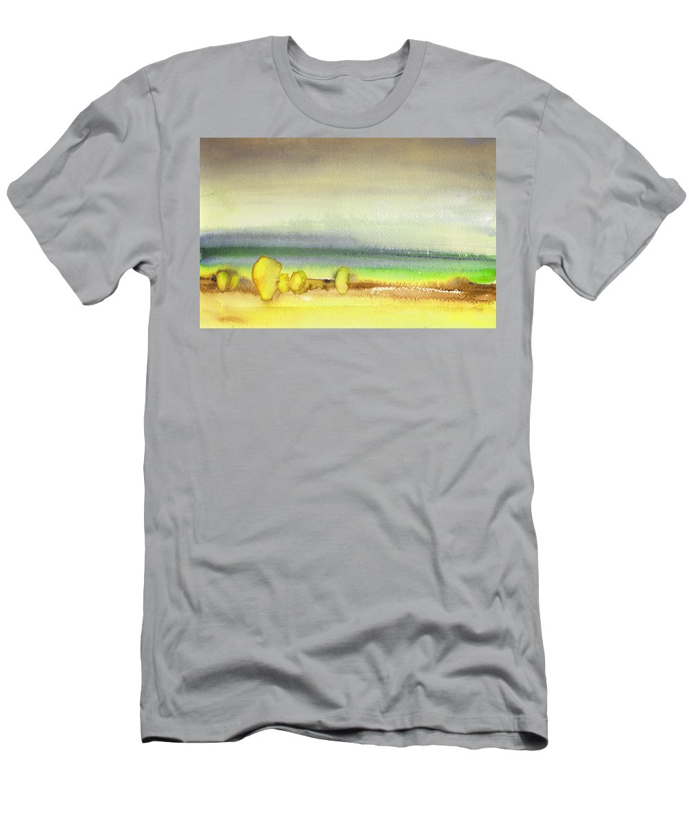Landscapes Men's T-Shirt (Athletic Fit) featuring the painting Dawn 13 by Miki De Goodaboom