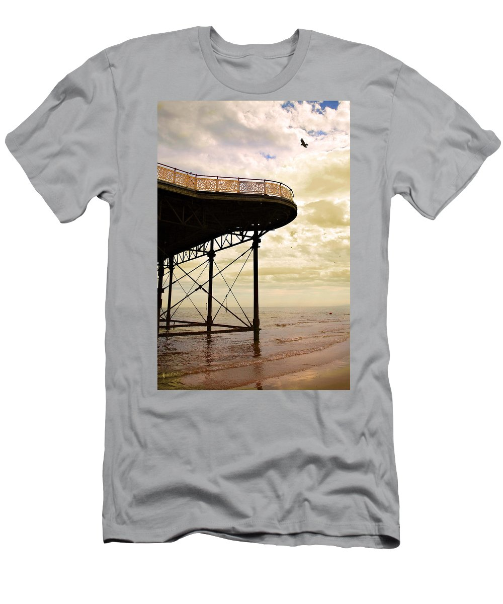 Victoria Men's T-Shirt (Athletic Fit) featuring the photograph Dawn At Colwyn Bay Victoria Pier Conwy North Wales Uk by Mal Bray