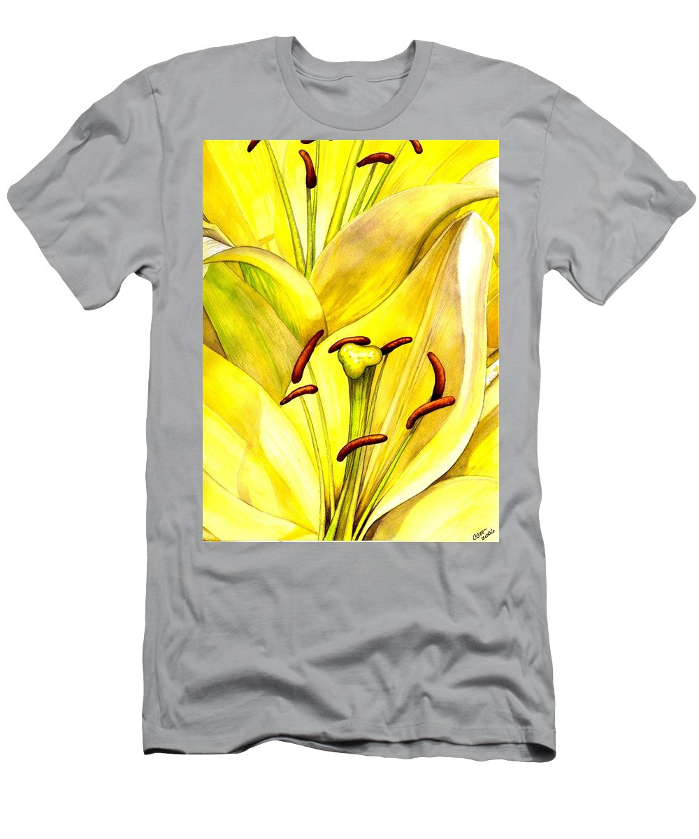 Lily Men's T-Shirt (Athletic Fit) featuring the painting Daylily by Catherine G McElroy