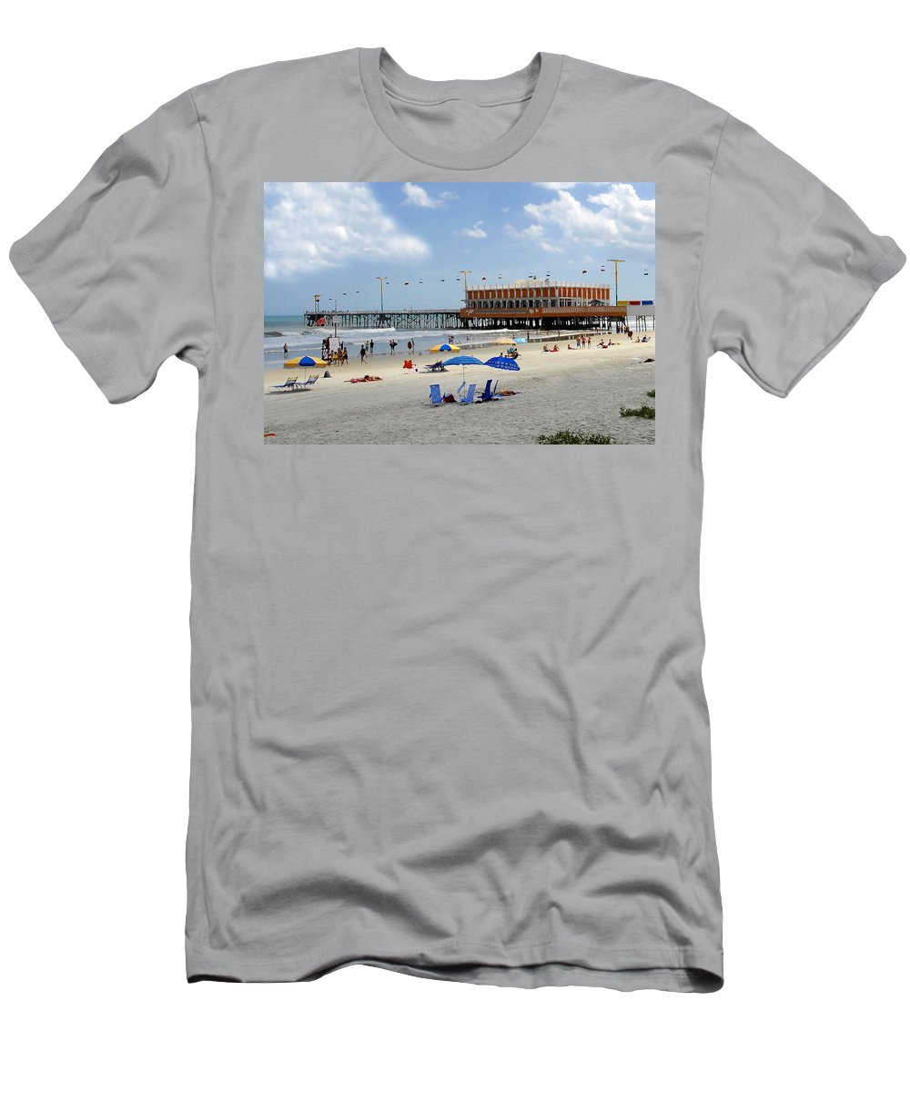 Daytona Beach Florida Men's T-Shirt (Athletic Fit) featuring the photograph Daytona Beach Pier by David Lee Thompson