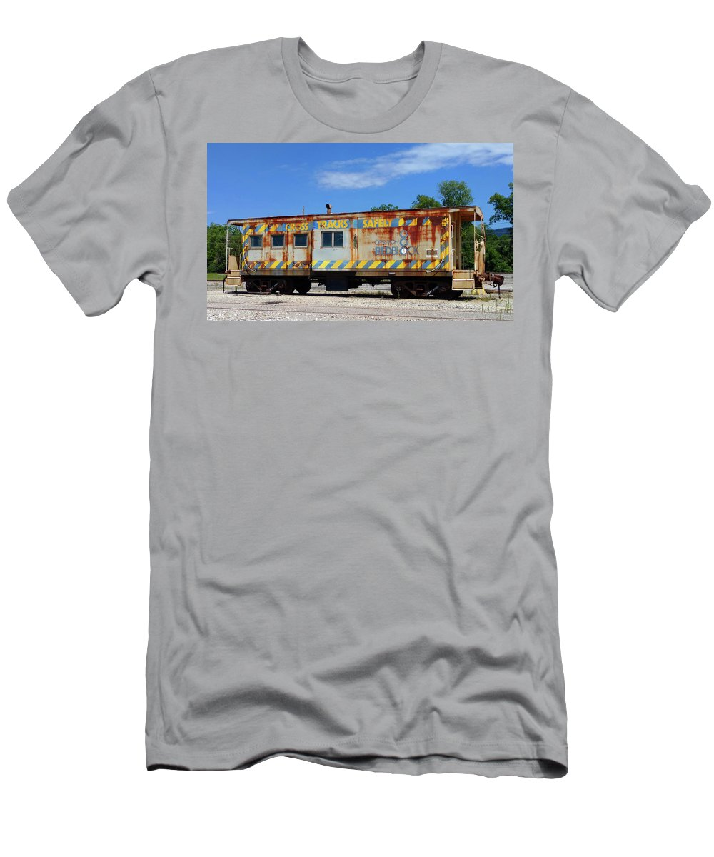 Pat Turner Men's T-Shirt (Athletic Fit) featuring the photograph Deadline Caboose by Pat Turner