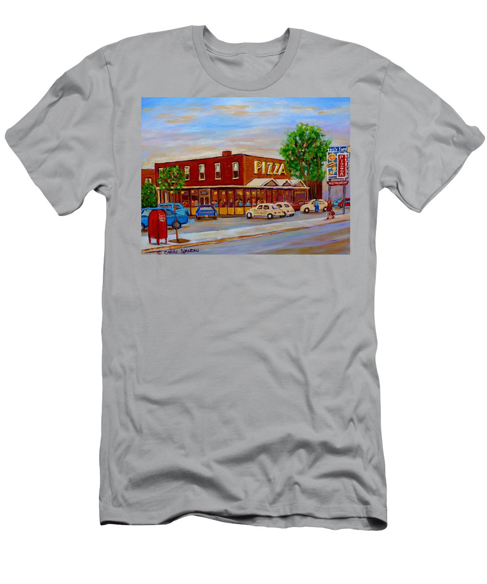 Tasty Food Pizza Men's T-Shirt (Athletic Fit) featuring the painting Decarie Tasty Food Pizza by Carole Spandau
