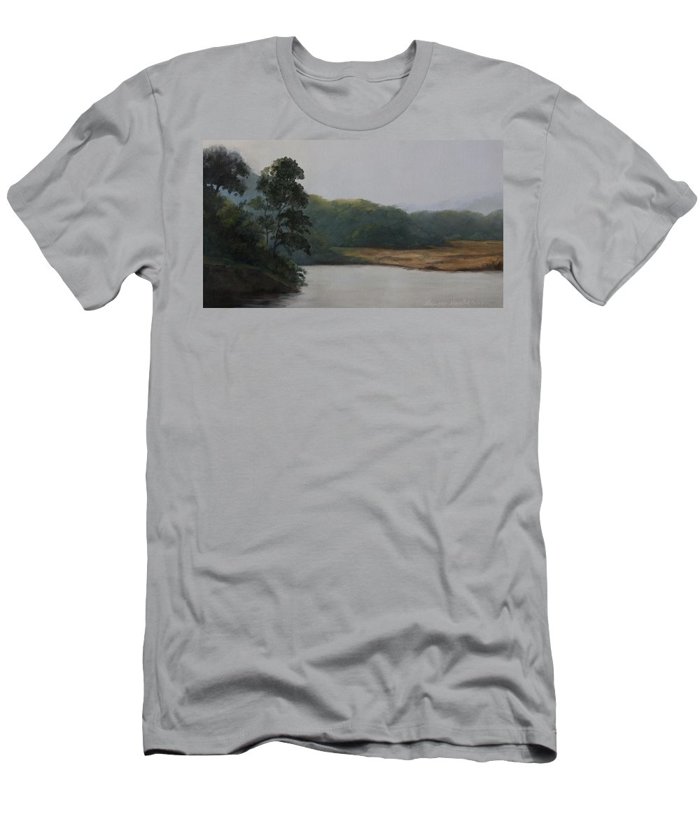 December Men's T-Shirt (Athletic Fit) featuring the painting December Evening by Mandar Marathe
