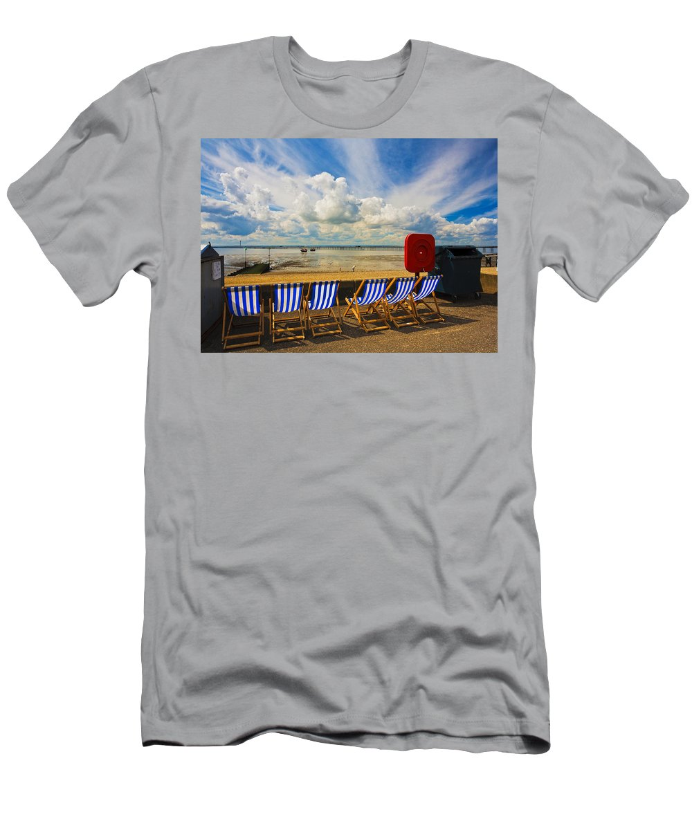 Southend On Sea T-Shirt featuring the photograph Deck chairs at Southend on Sea by Sheila Smart Fine Art Photography