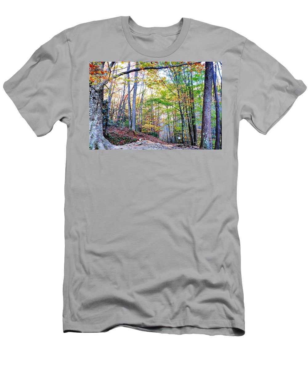 Smokey Mountain Men's T-Shirt (Athletic Fit) featuring the photograph Deep In The Forest by Brittany Horton