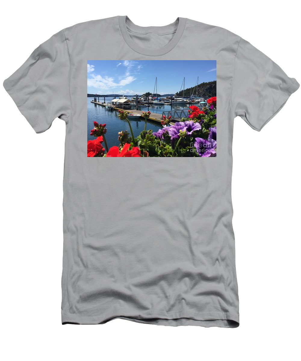 Deer Harbor Men's T-Shirt (Athletic Fit) featuring the photograph Deer Harbor By Day by William Wyckoff
