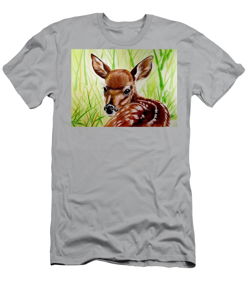Deer Painting Men's T-Shirt (Athletic Fit) featuring the painting Deerly Beloved by Carol Blackhurst