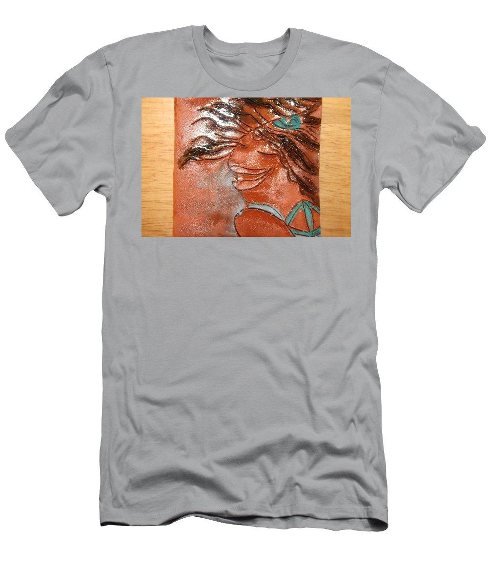 Jesus Men's T-Shirt (Athletic Fit) featuring the ceramic art Della - Tile by Gloria Ssali