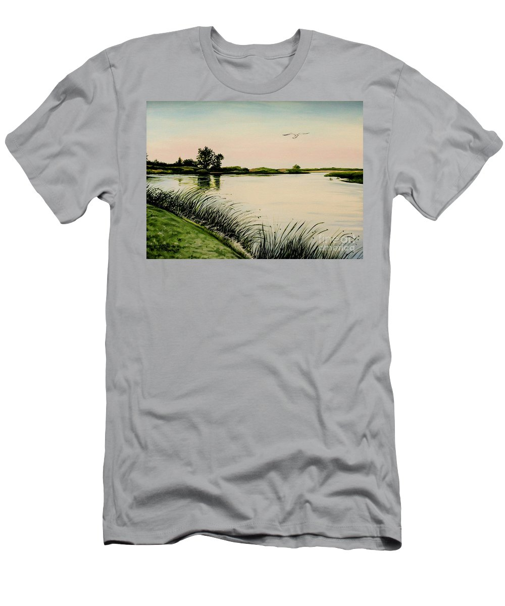 Landscape Men's T-Shirt (Athletic Fit) featuring the painting Delta At Dusk by Elizabeth Robinette Tyndall