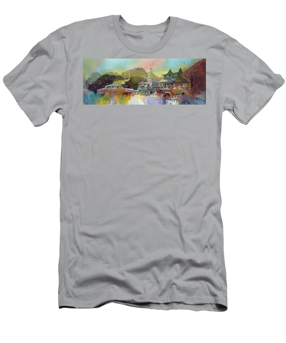 Rusty Old Cars T-Shirt featuring the painting Derelicts on Duty by Ron Morrison