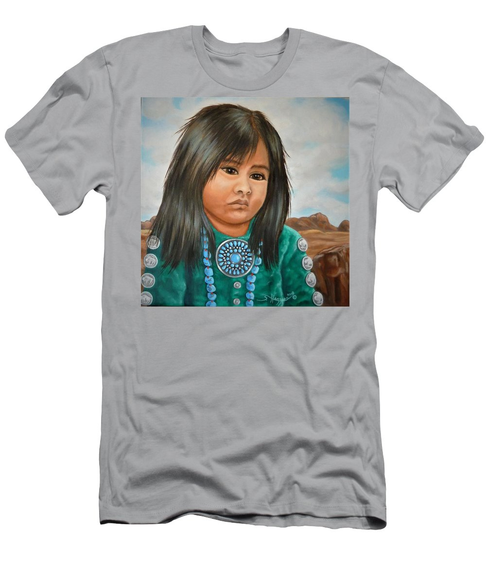 Girl Men's T-Shirt (Athletic Fit) featuring the painting Desert Flower by Shari Hazzard-Doyle