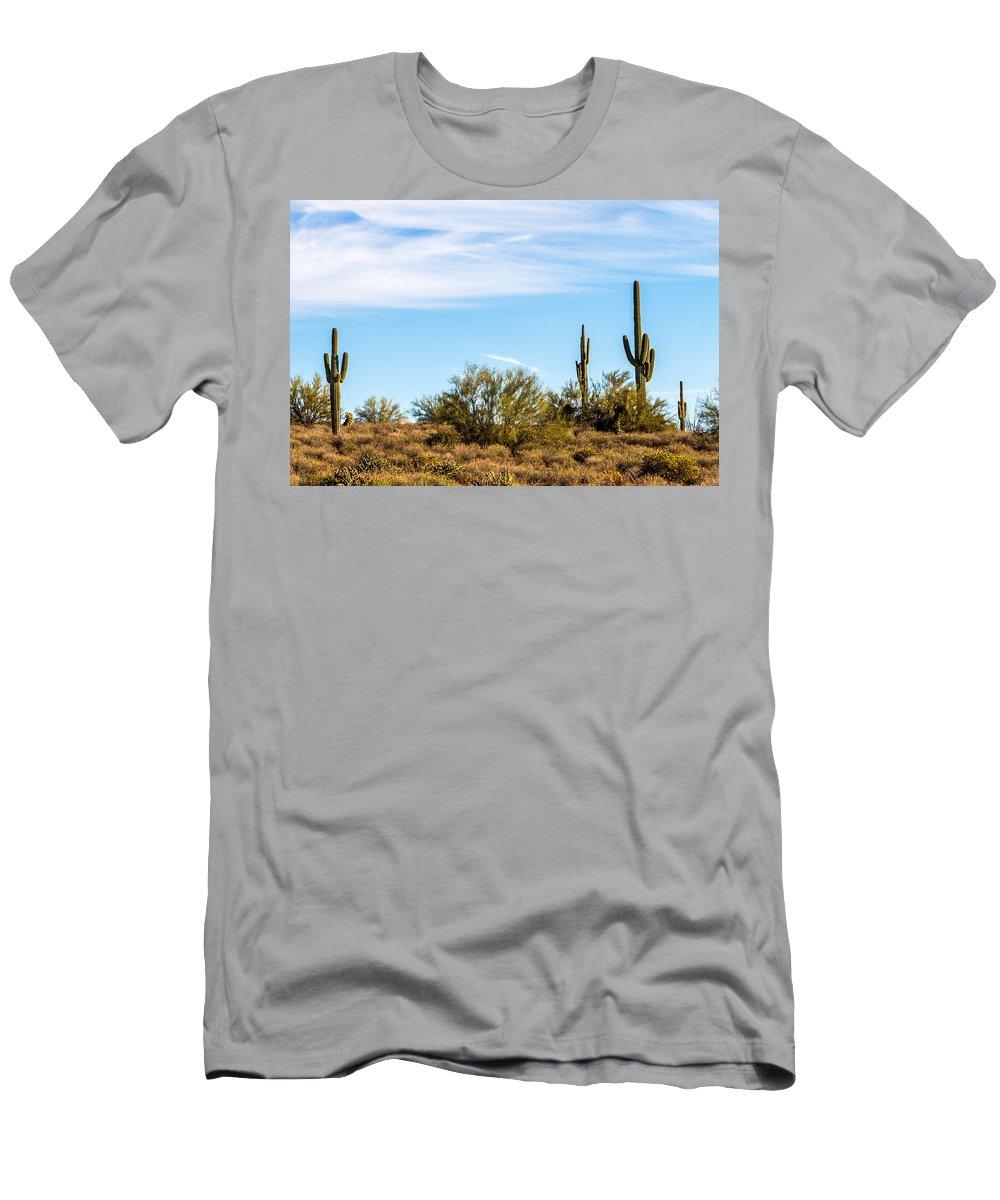 Cactus Men's T-Shirt (Athletic Fit) featuring the photograph Desert View by Brigitte Mueller