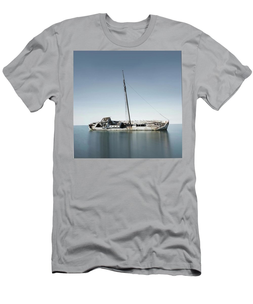 Boats Men's T-Shirt (Athletic Fit) featuring the photograph Deserted Wreck by Sharon Knightly