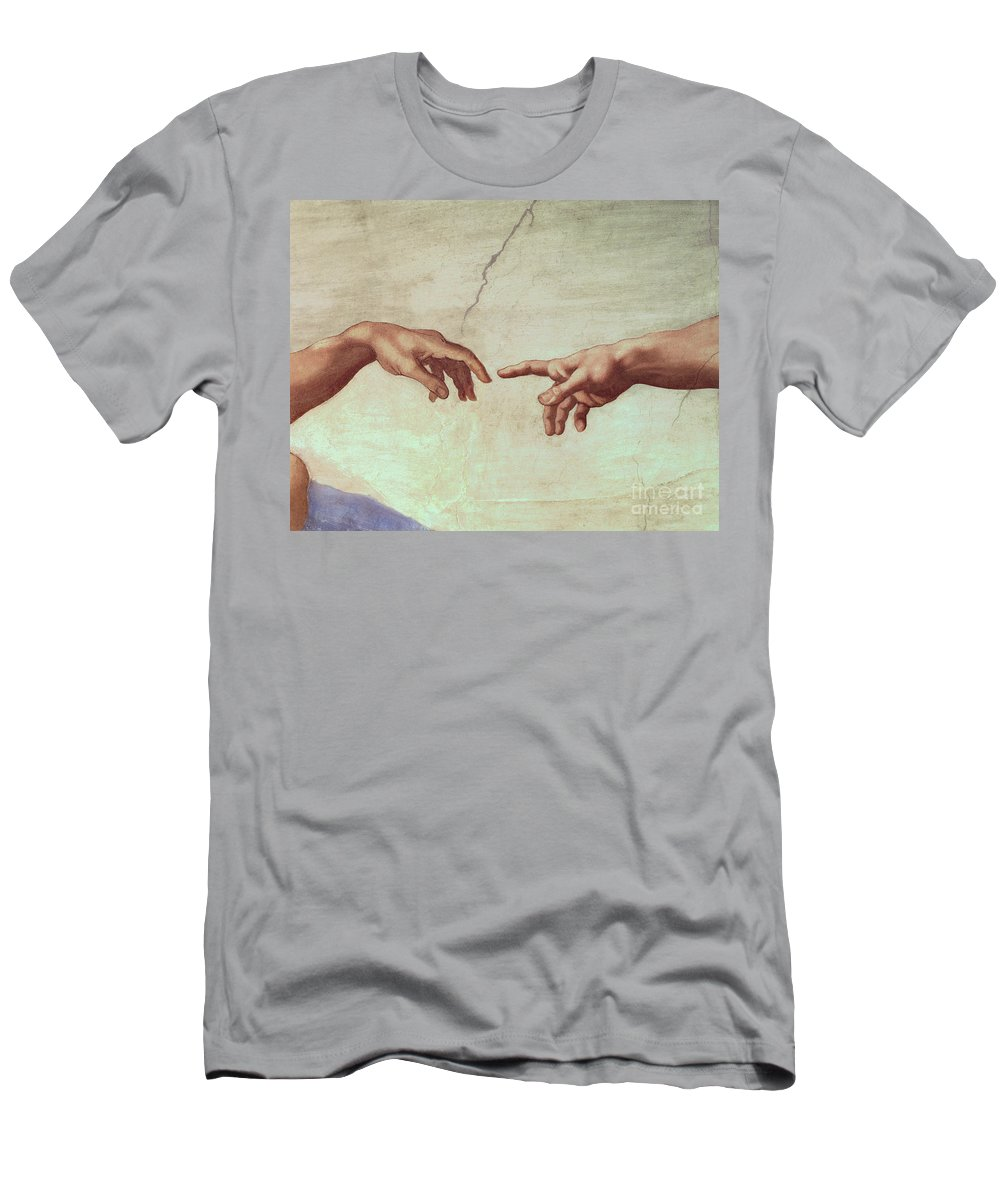 6a3af0d7 Hands Men's T-Shirt (Athletic Fit) featuring the painting Detail From The  Creation