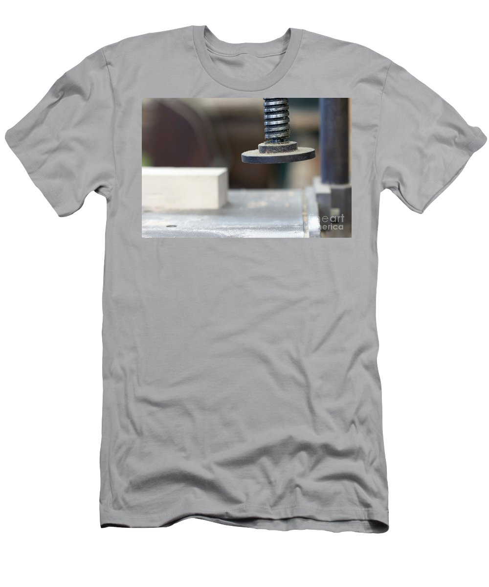 Diy Men's T-Shirt (Athletic Fit) featuring the photograph Detail Of The Chuck In The Carpentry Workshop - Shallow Depth Of by Michal Boubin